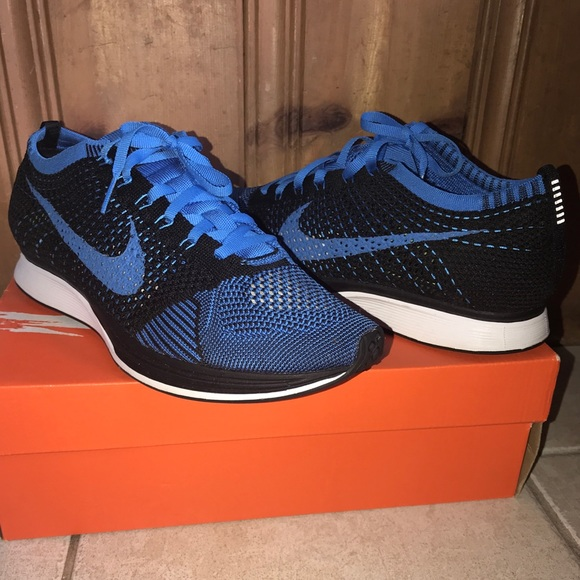 new style 6e738 ff775 BLUE NIKE FlyKnit Racer shoes